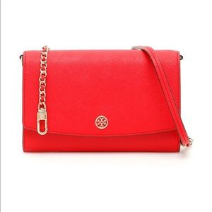 Tory Burch  Robinson Leather Chain Wallet